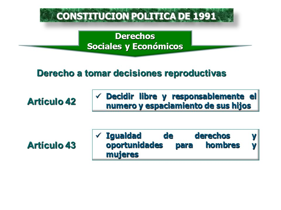 Igualdad de derechos y oportunidades para hombres y mujeres Igualdad de derechos y oportunidades para hombres y mujeres Artículo 43 Derechos Sociales