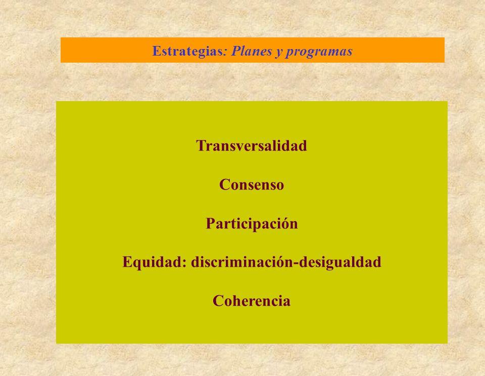 Estrategias: Planes y programas Transversalidad Consenso Participación Equidad: discriminación-desigualdad Coherencia