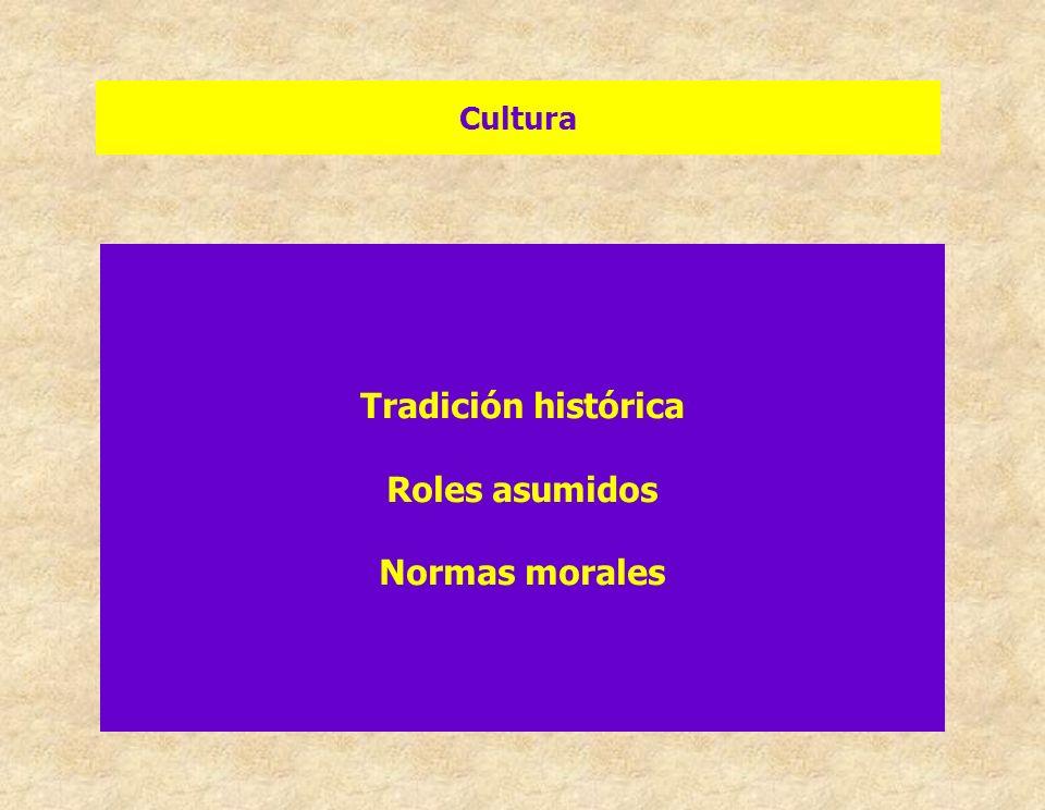 Cultura Tradición histórica Roles asumidos Normas morales