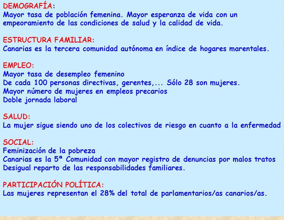 DEMOGRAFÍA: Mayor tasa de población femenina. Mayor esperanza de vida con un empeoramiento de las condiciones de salud y la calidad de vida. ESTRUCTUR