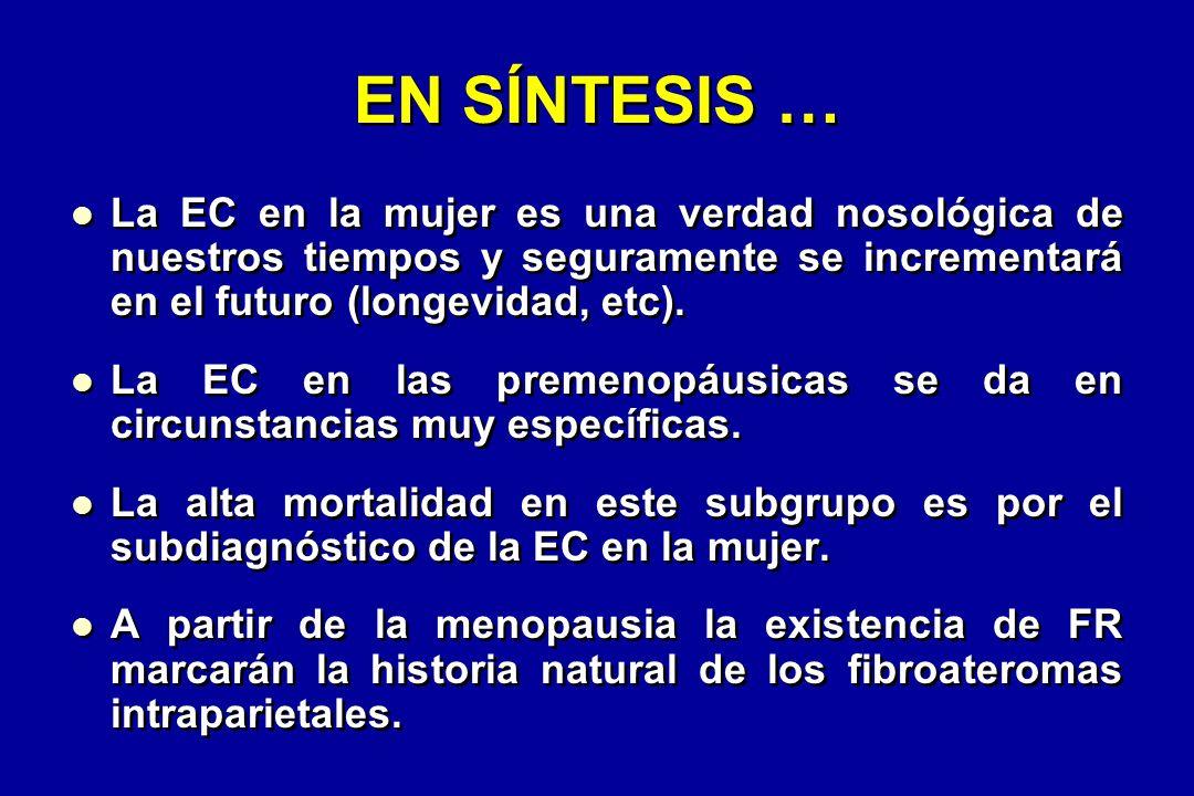 EN SÍNTESIS … La EC en la mujer es una verdad nosológica de nuestros tiempos y seguramente se incrementará en el futuro (longevidad, etc).