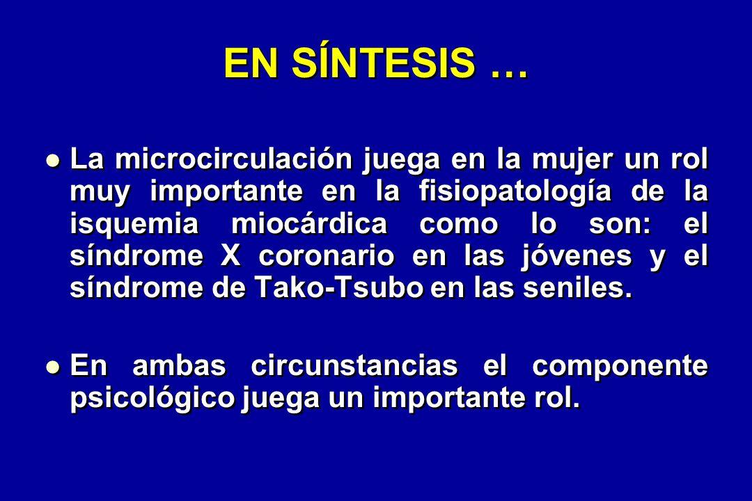 EN SÍNTESIS … La microcirculación juega en la mujer un rol muy importante en la fisiopatología de la isquemia miocárdica como lo son: el síndrome X coronario en las jóvenes y el síndrome de Tako-Tsubo en las seniles.