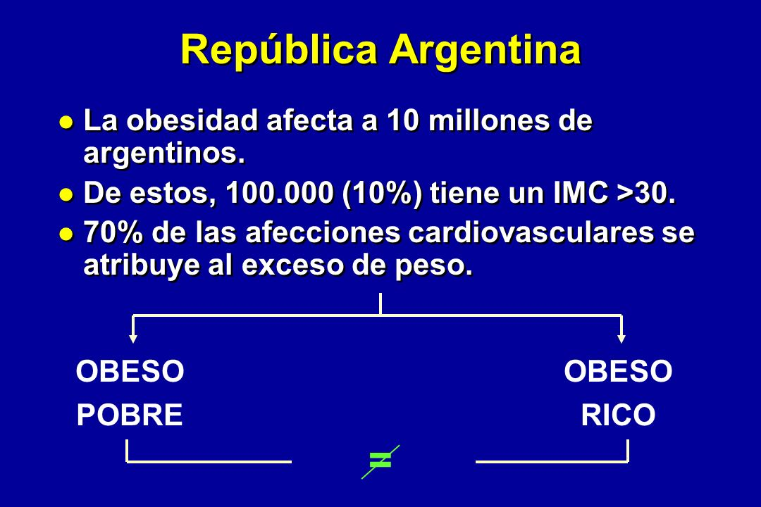 República Argentina La obesidad afecta a 10 millones de argentinos.