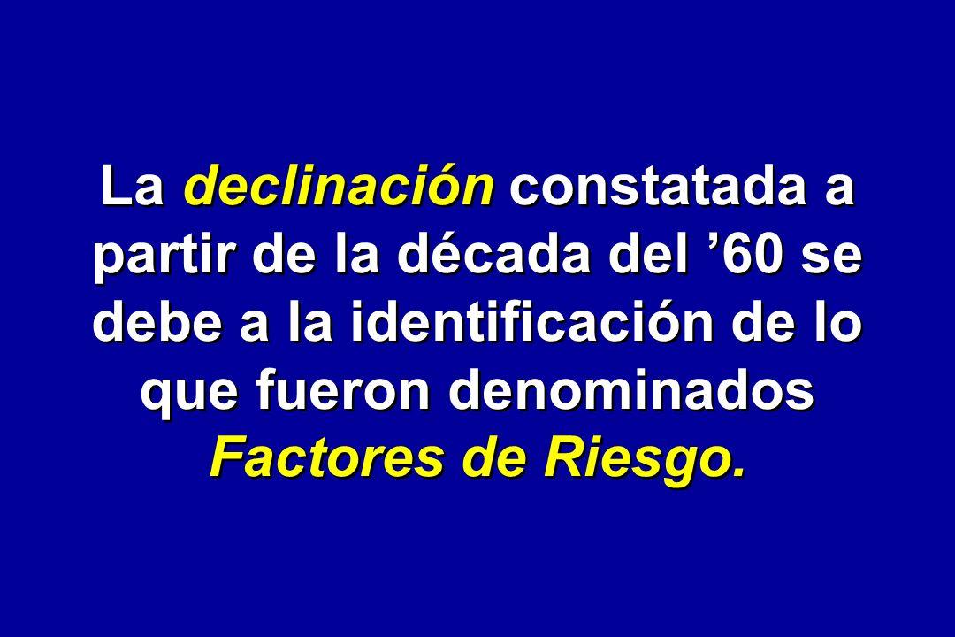 La declinación constatada a partir de la década del 60 se debe a la identificación de lo que fueron denominados Factores de Riesgo.
