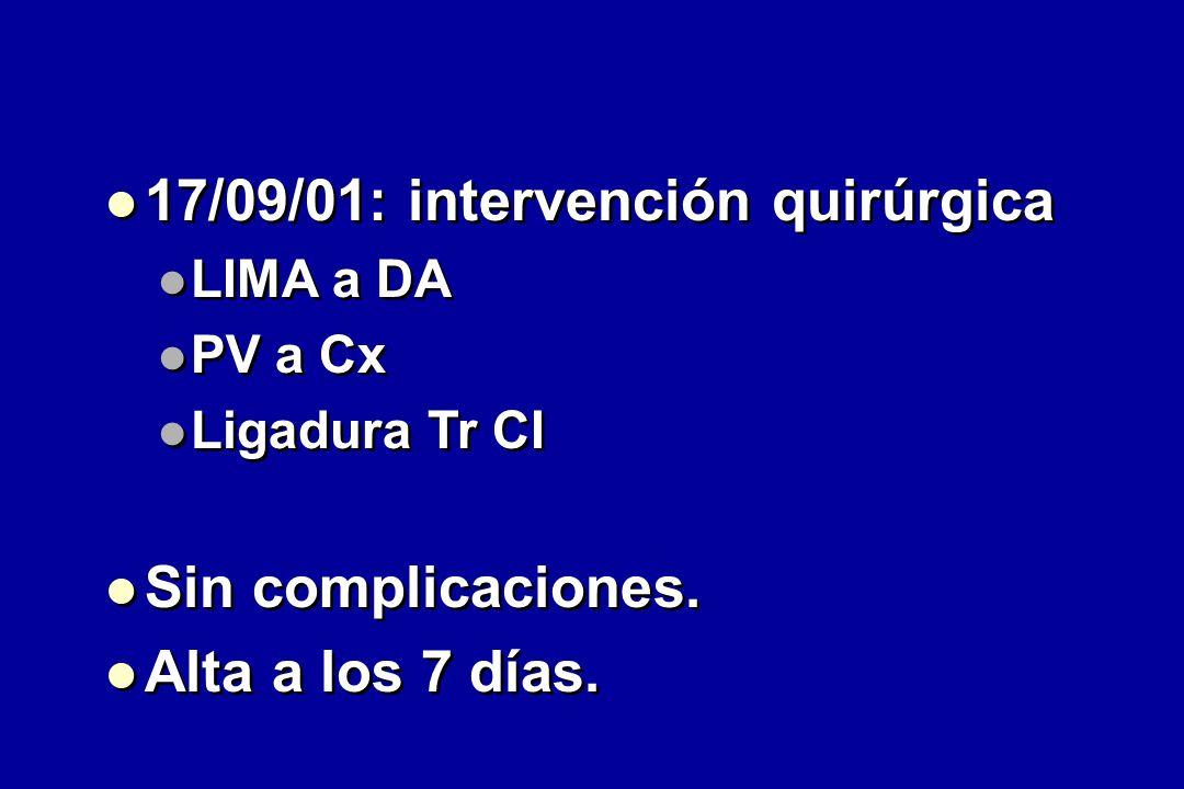 17/09/01: intervención quirúrgica LIMA a DA PV a Cx Ligadura Tr CI Sin complicaciones.