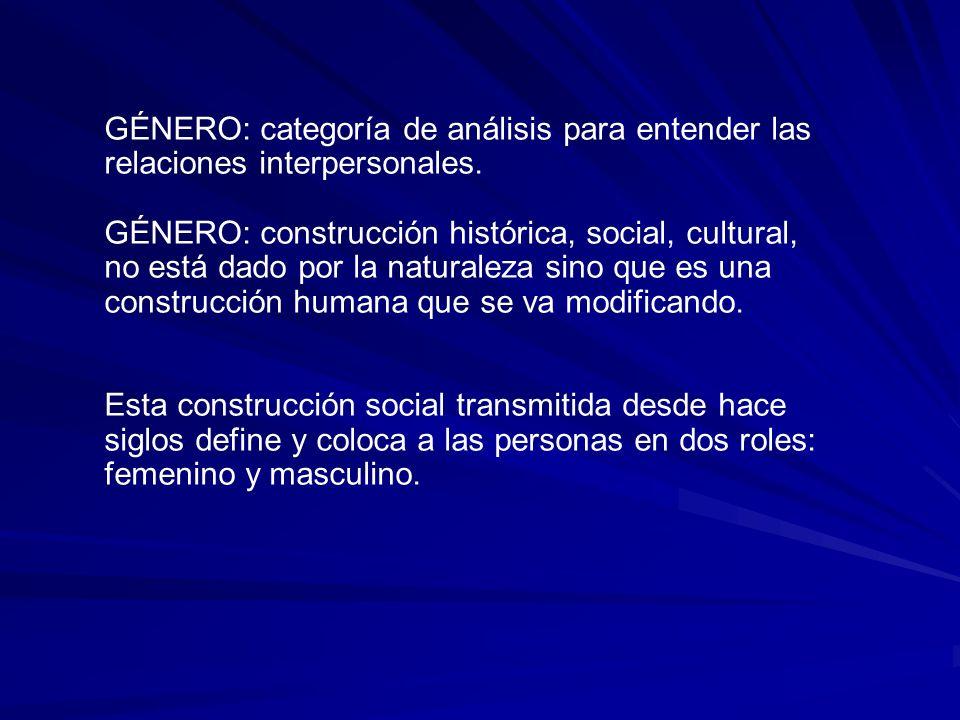 GÉNERO: categoría de análisis para entender las relaciones interpersonales. GÉNERO: construcción histórica, social, cultural, no está dado por la natu
