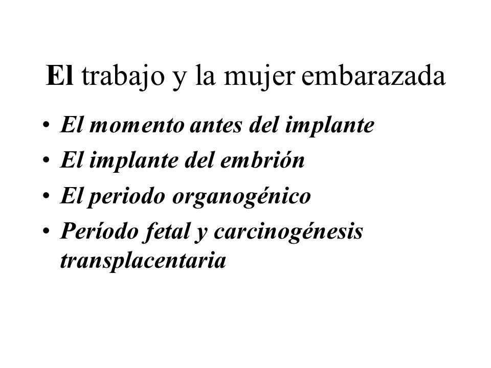 El trabajo y la mujer embarazada El momento antes del implante El implante del embrión El periodo organogénico Período fetal y carcinogénesis transplacentaria
