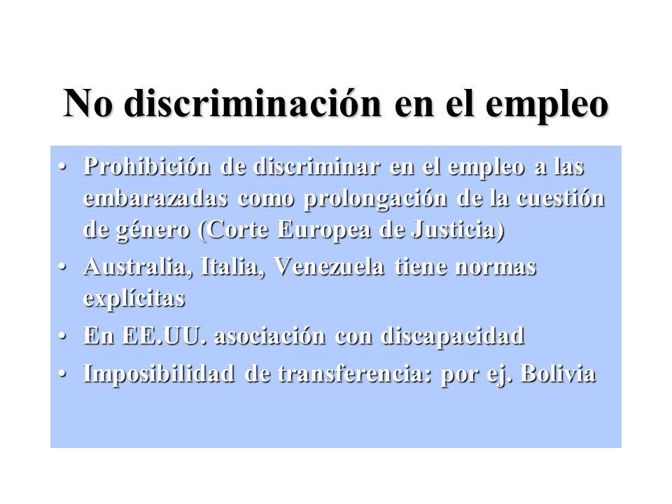 No discriminación en el empleo Prohibición de discriminar en el empleo a las embarazadas como prolongación de la cuestión de género (Corte Europea de Justicia)Prohibición de discriminar en el empleo a las embarazadas como prolongación de la cuestión de género (Corte Europea de Justicia) Australia, Italia, Venezuela tiene normas explícitasAustralia, Italia, Venezuela tiene normas explícitas En EE.UU.
