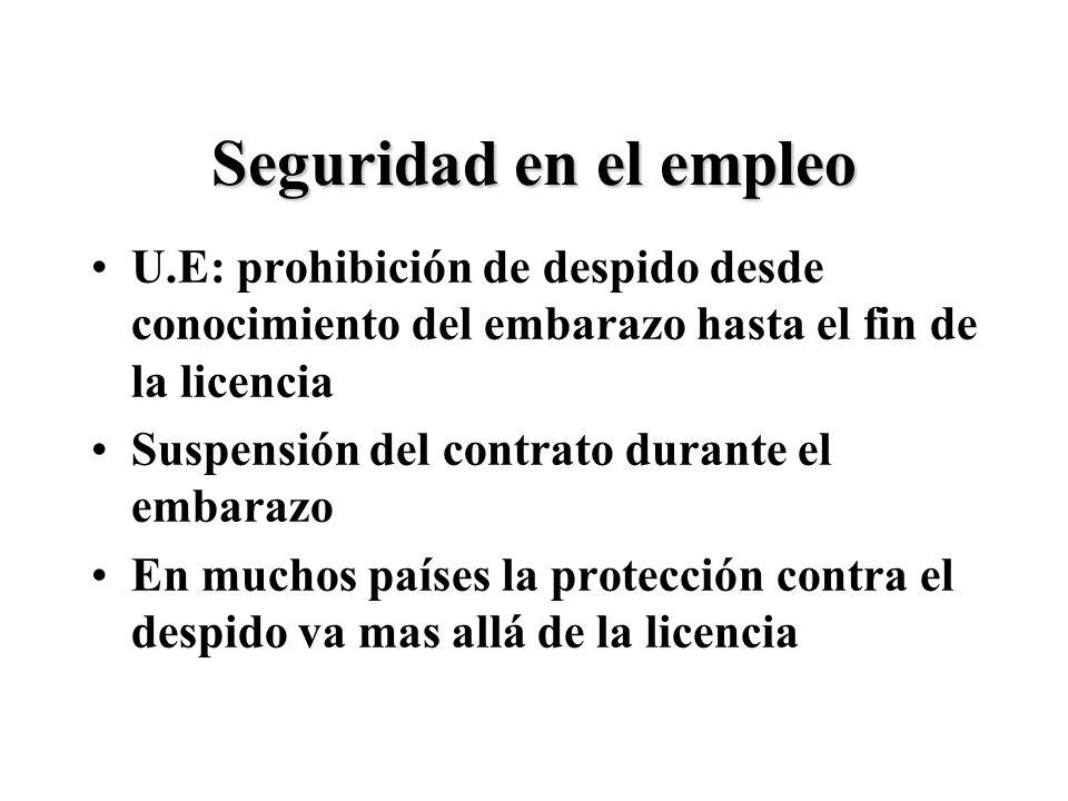 Seguridad en el empleo U.E: prohibición de despido desde conocimiento del embarazo hasta el fin de la licencia Suspensión del contrato durante el embarazo En muchos países la protección contra el despido va mas allá de la licencia