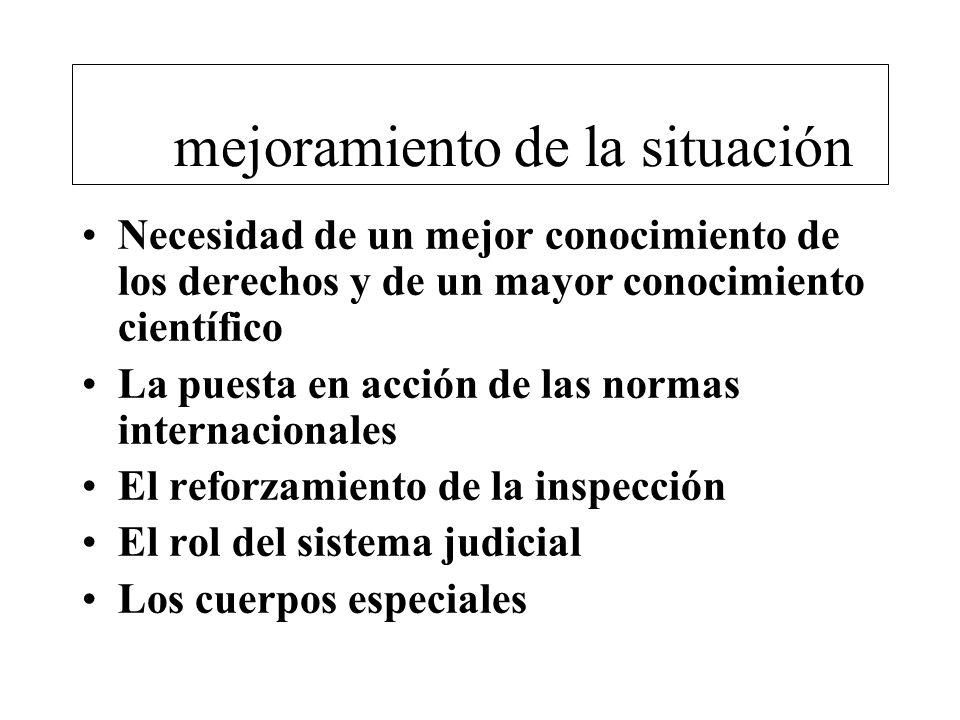 El mejoramiento de la situación Necesidad de un mejor conocimiento de los derechos y de un mayor conocimiento científico La puesta en acción de las normas internacionales El reforzamiento de la inspección El rol del sistema judicial Los cuerpos especiales