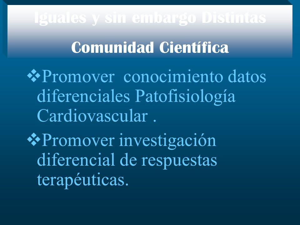 Promover conocimiento datos diferenciales Patofisiología Cardiovascular. Promover investigación diferencial de respuestas terapéuticas. Iguales y sin