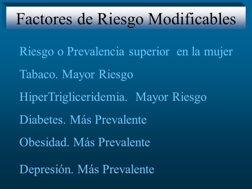 Riesgo o Prevalencia superior en la mujer Tabaco. Mayor Riesgo HiperTrigliceridemia. Mayor Riesgo Diabetes. Más Prevalente Obesidad. Más Prevalente De