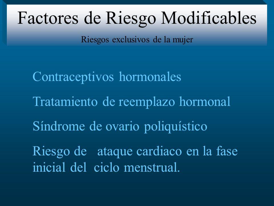 Contraceptivos hormonales Tratamiento de reemplazo hormonal Síndrome de ovario poliquístico Riesgo de ataque cardiaco en la fase inicial del ciclo men