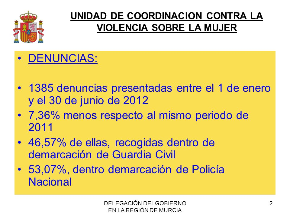 UNIDAD DE COORDINACION CONTRA LA VIOLENCIA SOBRE LA MUJER DELEGACIÓN DEL GOBIERNO EN LA REGIÓN DE MURCIA 2 DENUNCIAS: 1385 denuncias presentadas entre