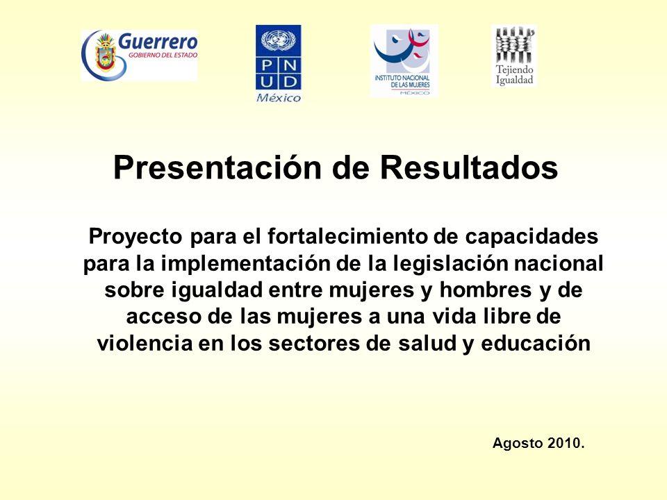Presentación de Resultados Proyecto para el fortalecimiento de capacidades para la implementación de la legislación nacional sobre igualdad entre muje