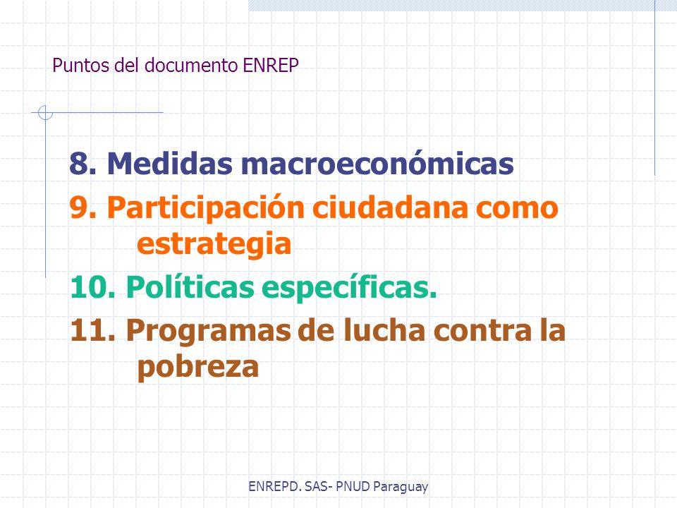 ENREPD. SAS- PNUD Paraguay Puntos del documento ENREP 8. Medidas macroeconómicas 9. Participación ciudadana como estrategia 10. Políticas específicas.