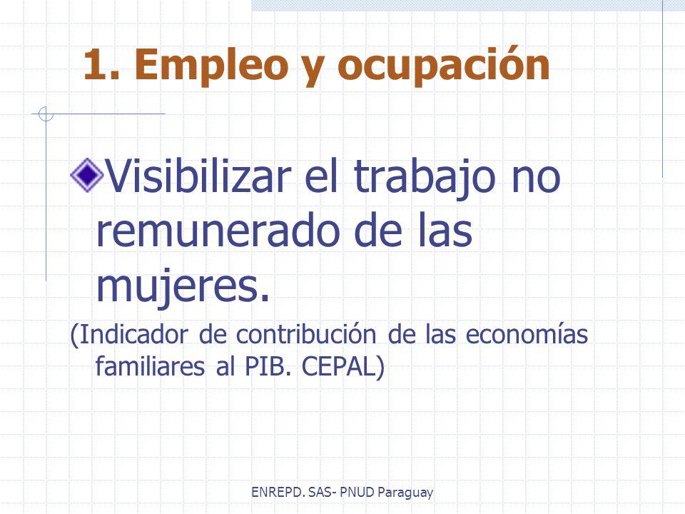 ENREPD. SAS- PNUD Paraguay Visibilizar el trabajo no remunerado de las mujeres. (Indicador de contribución de las economías familiares al PIB. CEPAL)