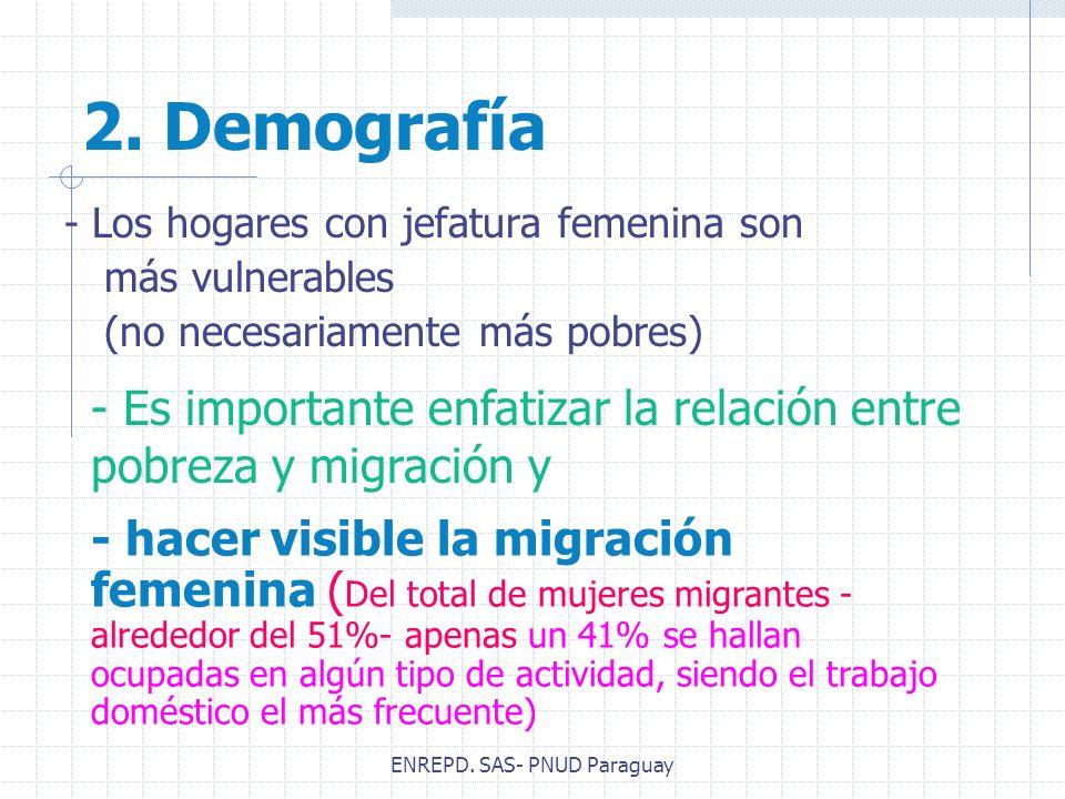 2. Demografía - Los hogares con jefatura femenina son más vulnerables (no necesariamente más pobres) - hacer visible la migración femenina ( Del total