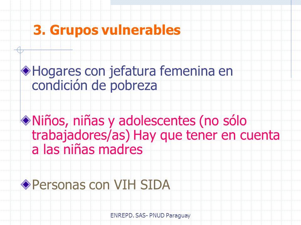 ENREPD. SAS- PNUD Paraguay Hogares con jefatura femenina en condición de pobreza Niños, niñas y adolescentes (no sólo trabajadores/as) Hay que tener e