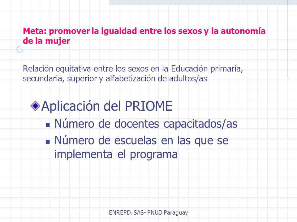 ENREPD. SAS- PNUD Paraguay Meta: promover la igualdad entre los sexos y la autonomía de la mujer Aplicación del PRIOME Número de docentes capacitados/