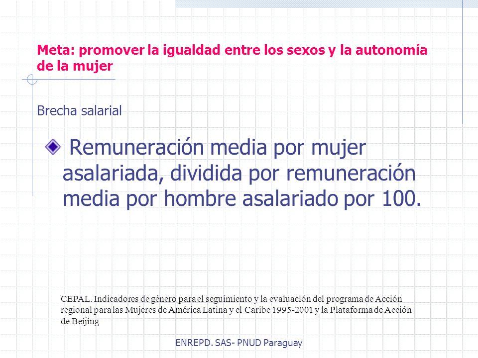 ENREPD. SAS- PNUD Paraguay Meta: promover la igualdad entre los sexos y la autonomía de la mujer Remuneración media por mujer asalariada, dividida por