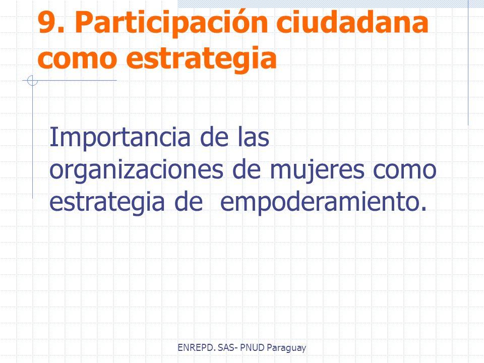 ENREPD. SAS- PNUD Paraguay 9. Participación ciudadana como estrategia Importancia de las organizaciones de mujeres como estrategia de empoderamiento.