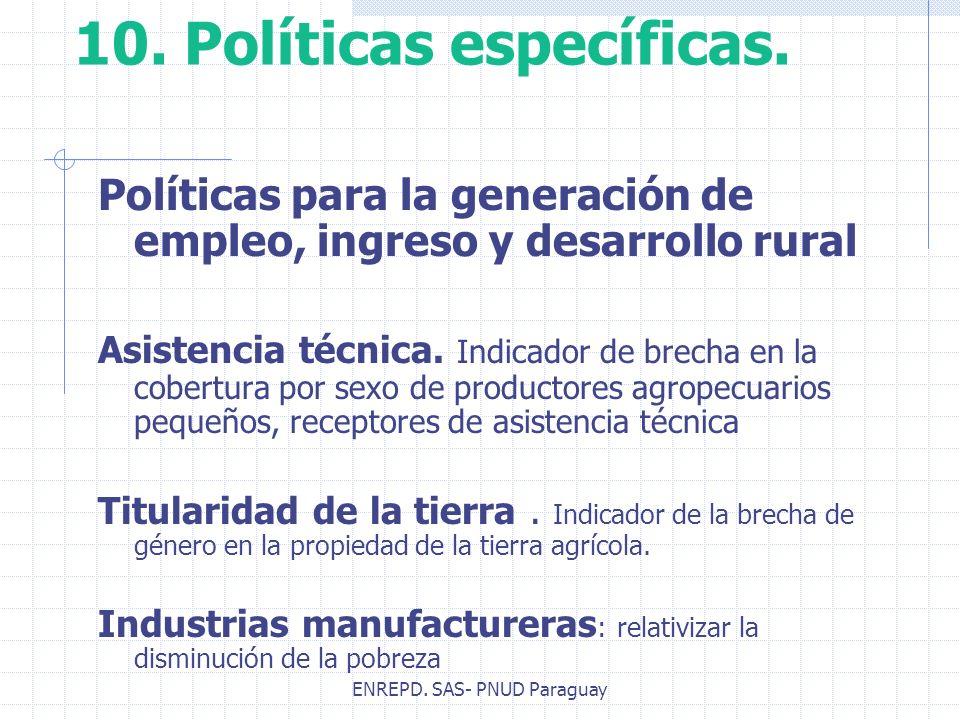 ENREPD. SAS- PNUD Paraguay 10. Políticas específicas. Políticas para la generación de empleo, ingreso y desarrollo rural Asistencia técnica. Indicador