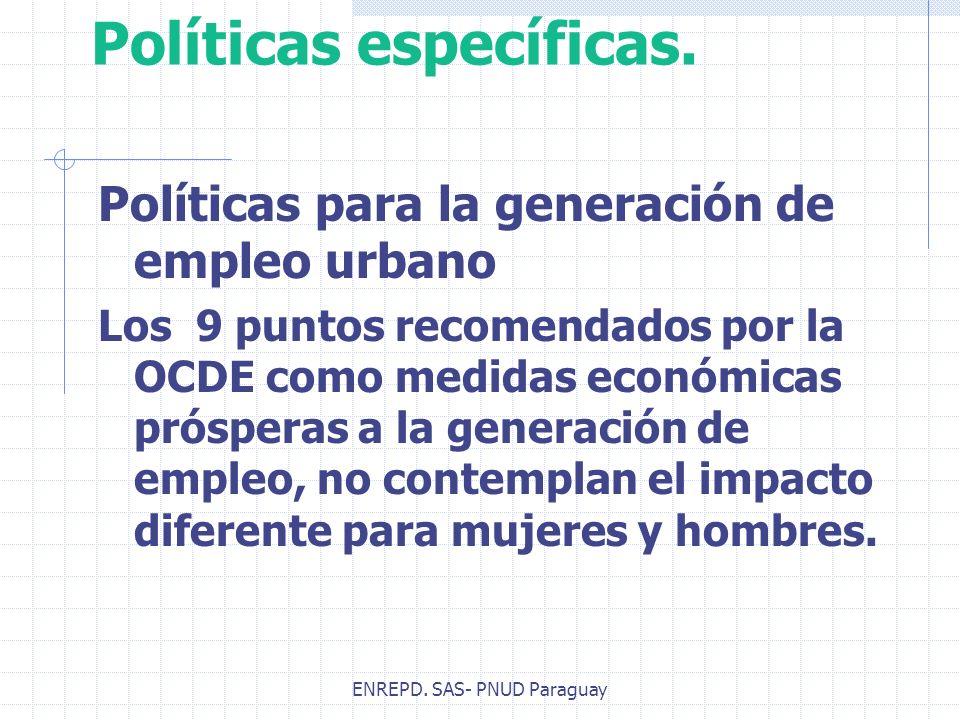 ENREPD. SAS- PNUD Paraguay Políticas específicas. Políticas para la generación de empleo urbano Los 9 puntos recomendados por la OCDE como medidas eco