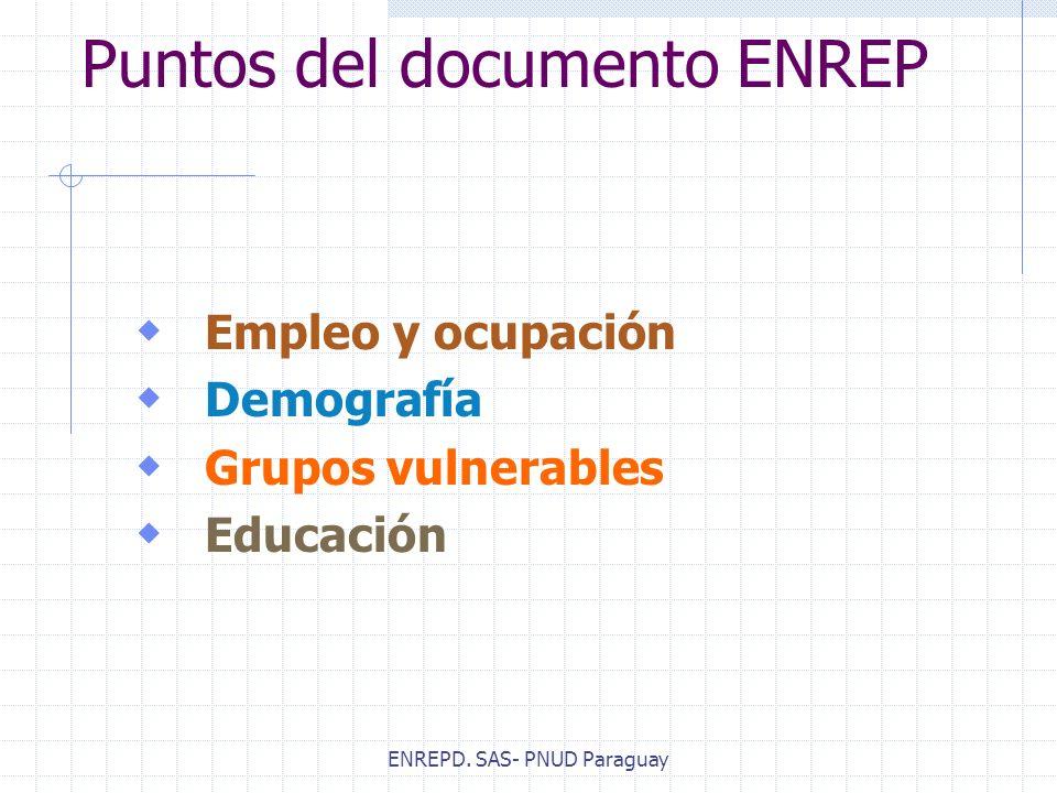 ENREPD. SAS- PNUD Paraguay Puntos del documento ENREP Empleo y ocupación Demografía Grupos vulnerables Educación