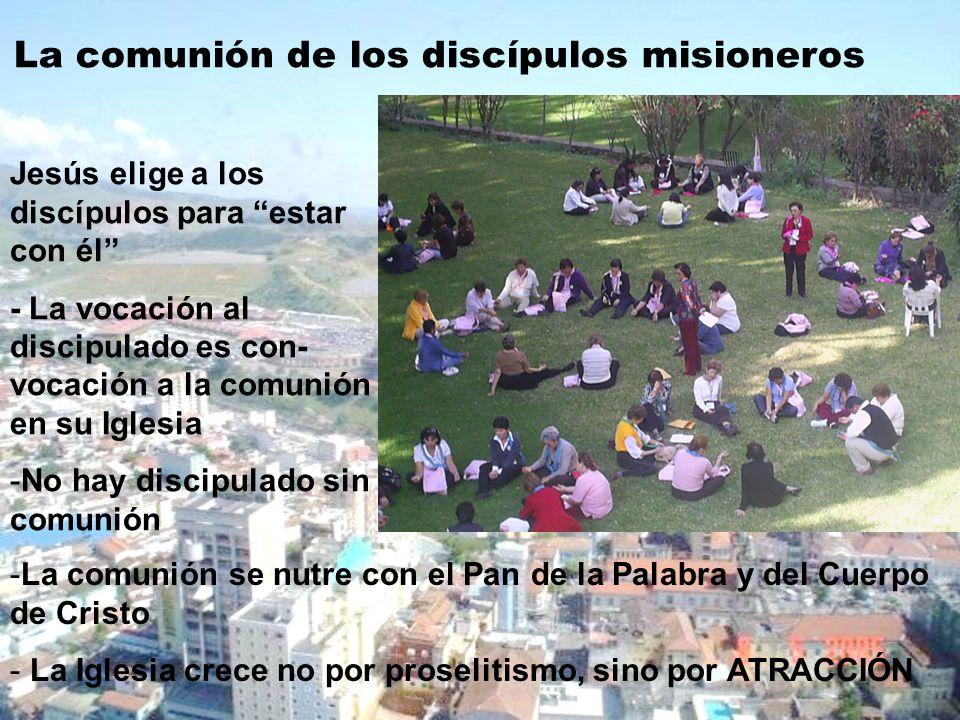 La comunión de los discípulos misioneros Jesús elige a los discípulos para estar con él - La vocación al discipulado es con- vocación a la comunión en