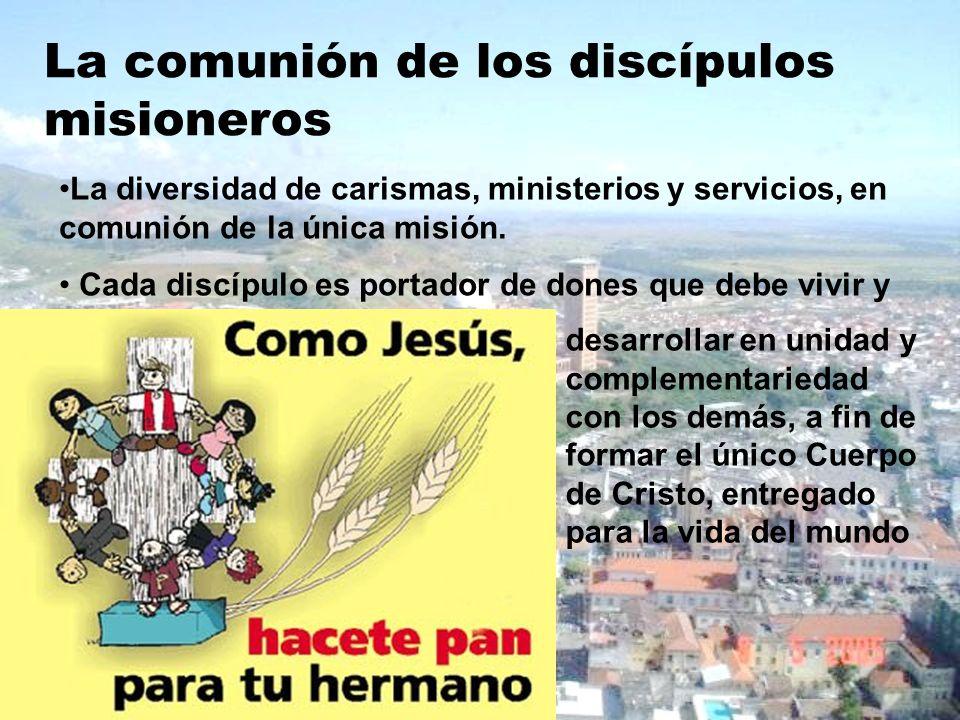 La comunión de los discípulos misioneros La diversidad de carismas, ministerios y servicios, en comunión de la única misión. Cada discípulo es portado