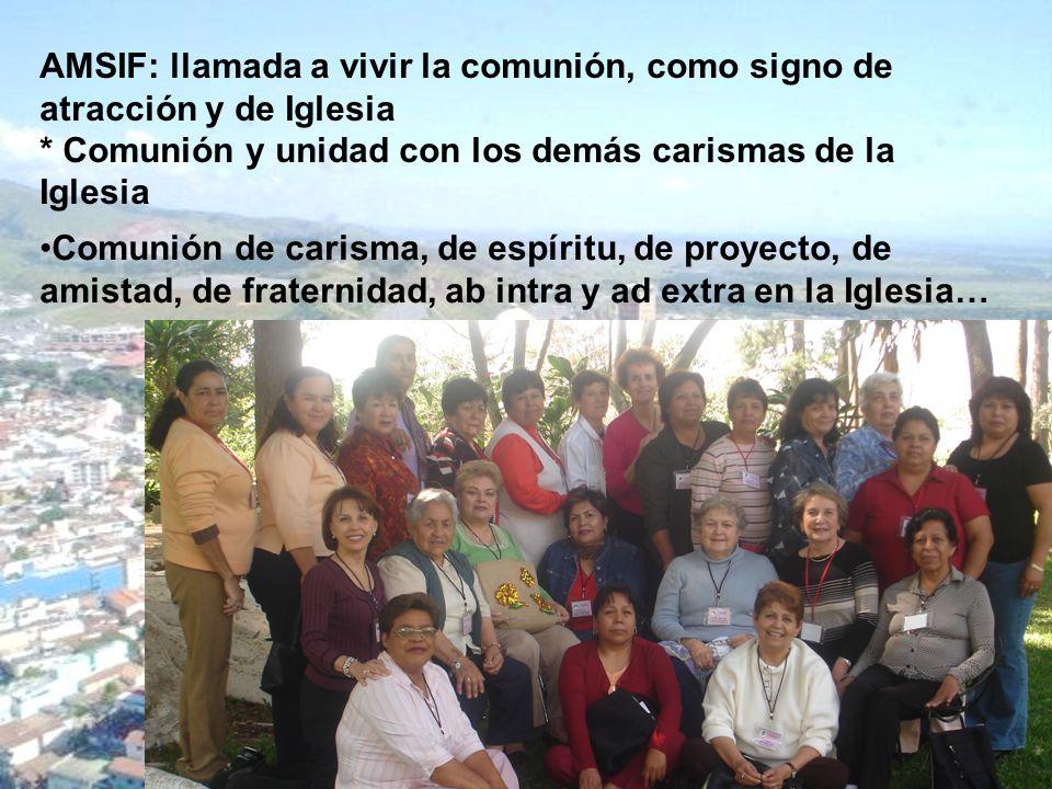 AMSIF: llamada a vivir la comunión, como signo de atracción y de Iglesia * Comunión y unidad con los demás carismas de la Iglesia Comunión de carisma,