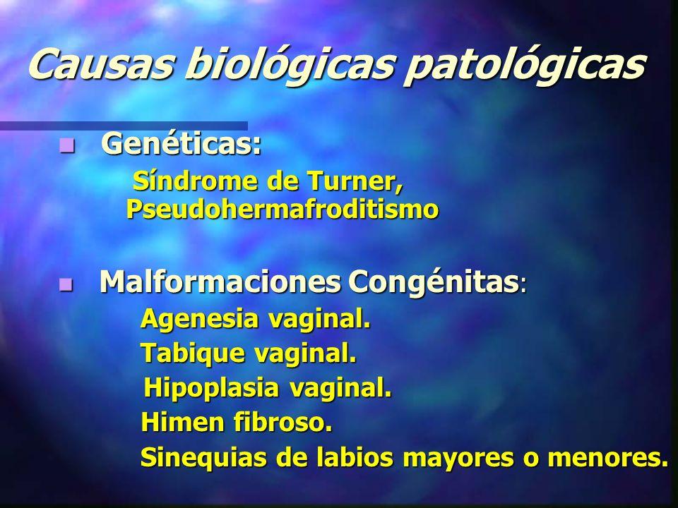 Causas biológicas patológicas Genéticas: Genéticas: Síndrome de Turner, Pseudohermafroditismo Síndrome de Turner, Pseudohermafroditismo Malformaciones Congénitas : Malformaciones Congénitas : Agenesia vaginal.