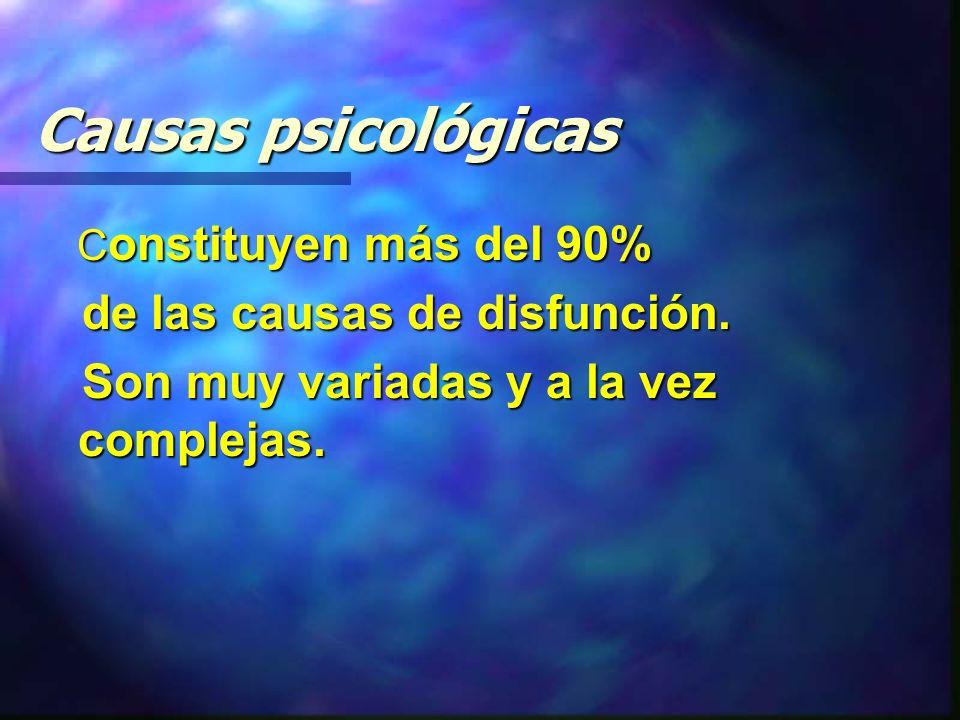 Causas psicológicas C onstituyen más del 90% C onstituyen más del 90% de las causas de disfunción.