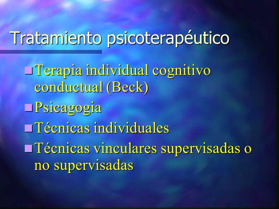 Tratamiento psicoterapéutico Terapia individual cognitivo conductual (Beck) Terapia individual cognitivo conductual (Beck) Psicagogia Psicagogia Técnicas individuales Técnicas individuales Técnicas vinculares supervisadas o no supervisadas Técnicas vinculares supervisadas o no supervisadas