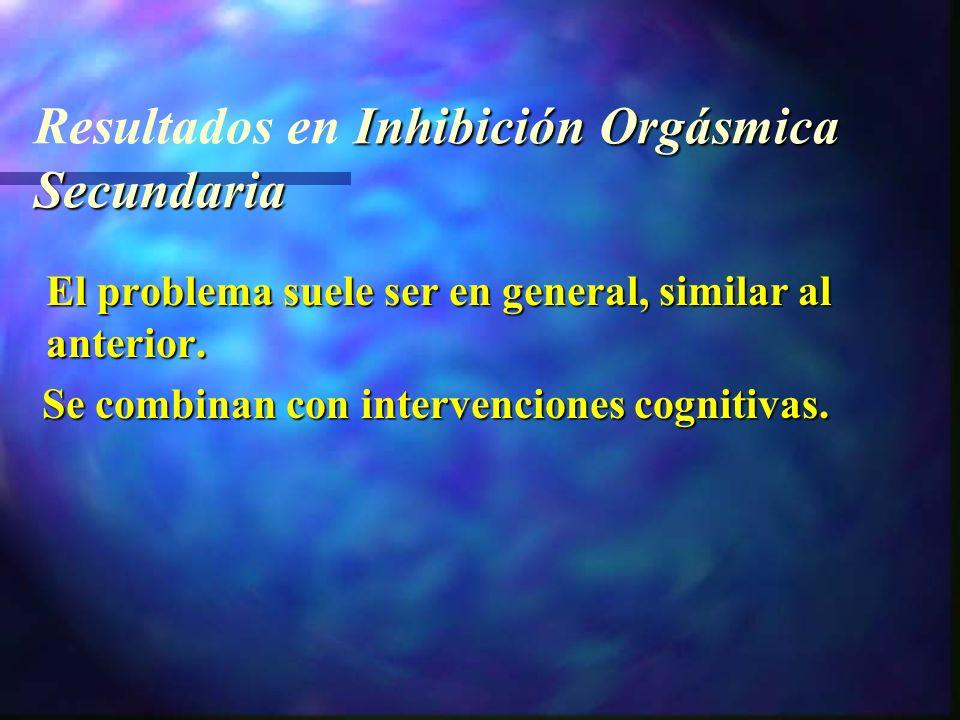 Inhibición Orgásmica Secundaria Resultados en Inhibición Orgásmica Secundaria El problema suele ser en general, similar al anterior.