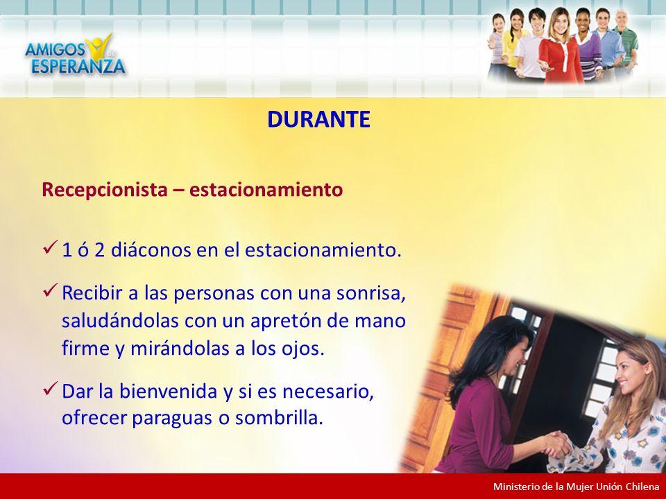 Ministerio de la Mujer Unión Chilena Recepcionista – estacionamiento 1 ó 2 diáconos en el estacionamiento.