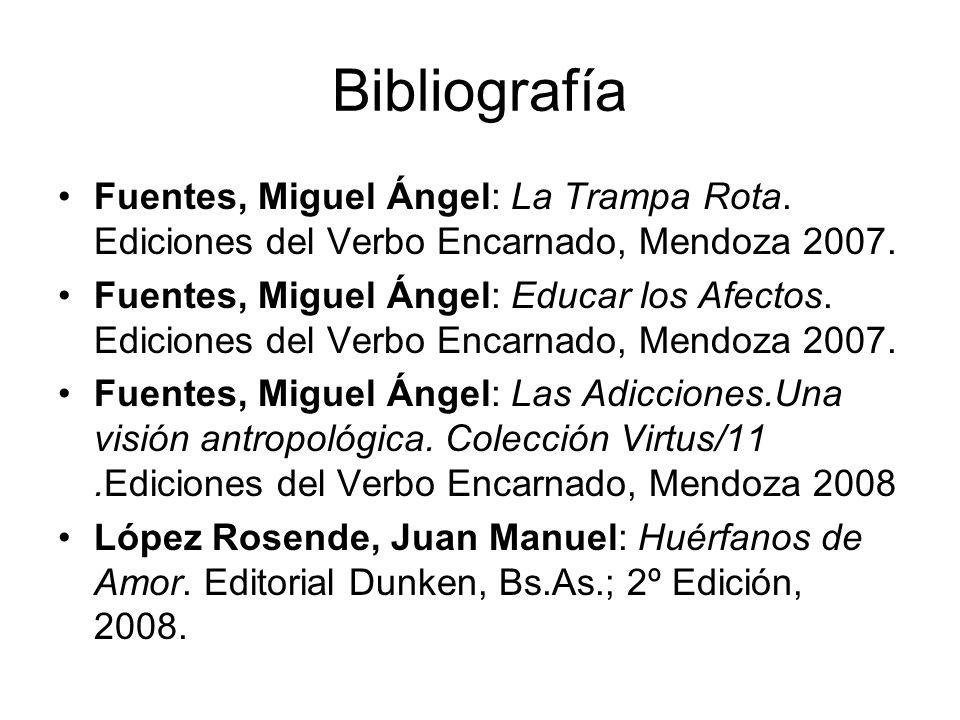 Bibliografía Fuentes, Miguel Ángel: La Trampa Rota. Ediciones del Verbo Encarnado, Mendoza 2007. Fuentes, Miguel Ángel: Educar los Afectos. Ediciones