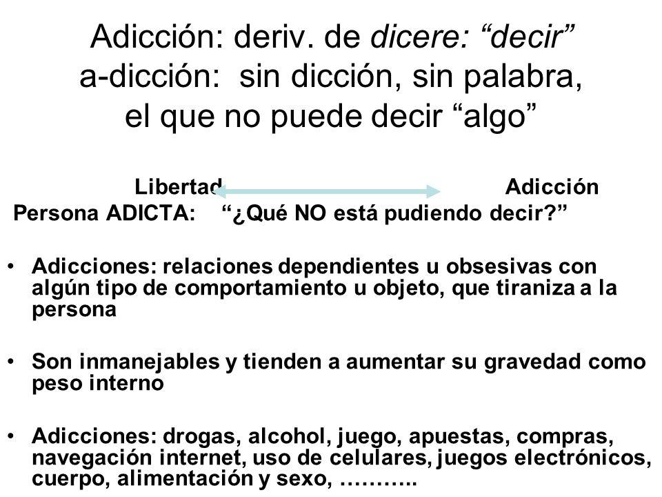 Adicción: deriv. de dicere: decir a-dicción: sin dicción, sin palabra, el que no puede decir algo Libertad Adicción Persona ADICTA: ¿Qué NO está pudie