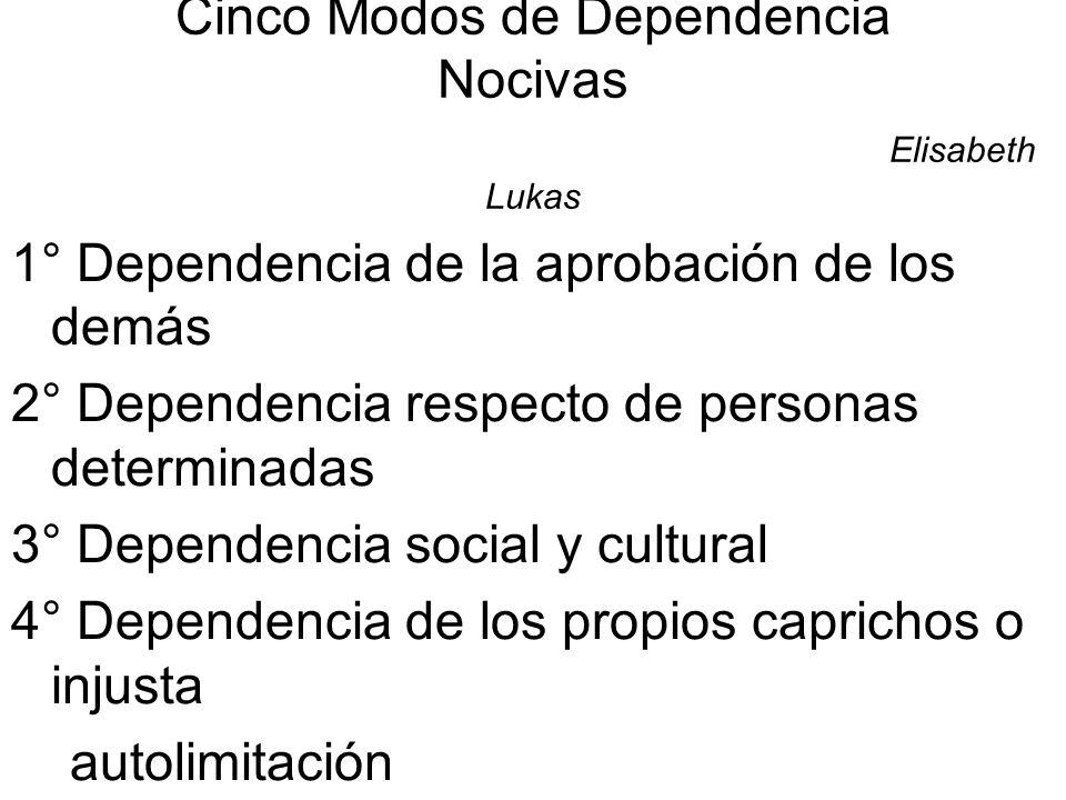 Cinco Modos de Dependencia Nocivas Elisabeth Lukas 1° Dependencia de la aprobación de los demás 2° Dependencia respecto de personas determinadas 3° De