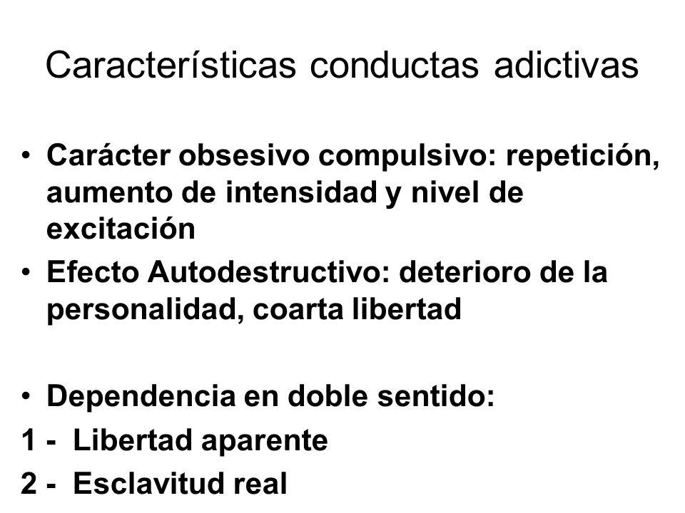Características conductas adictivas Carácter obsesivo compulsivo: repetición, aumento de intensidad y nivel de excitación Efecto Autodestructivo: dete