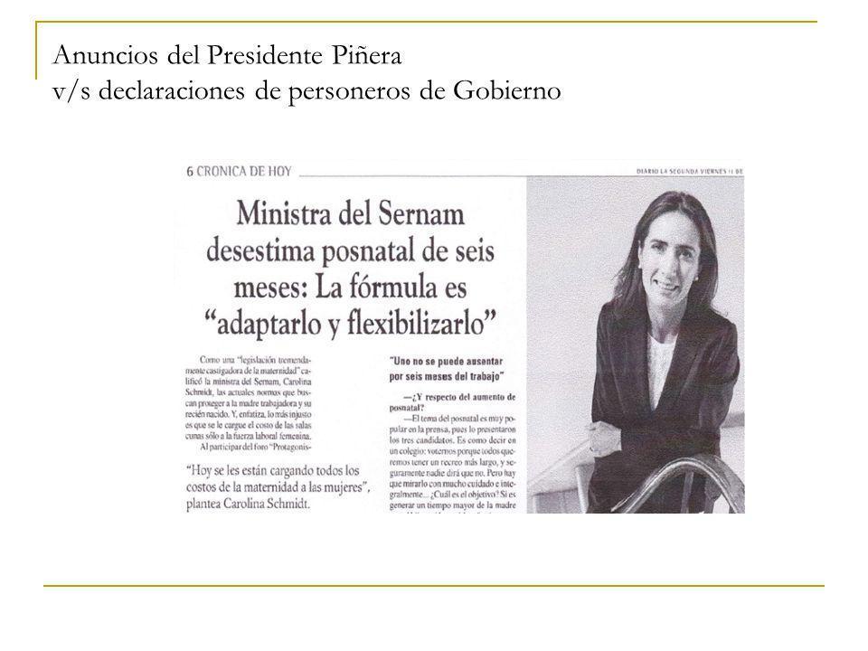 Anuncios del Presidente Piñera v/s declaraciones de personeros de Gobierno
