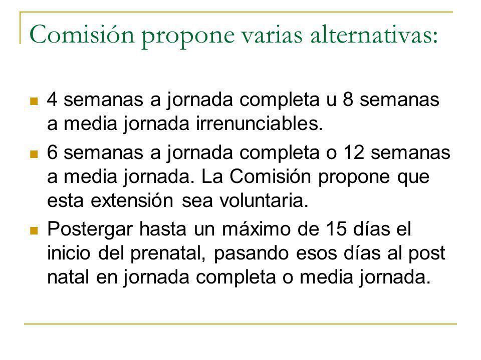 Comisión propone varias alternativas: 4 semanas a jornada completa u 8 semanas a media jornada irrenunciables.