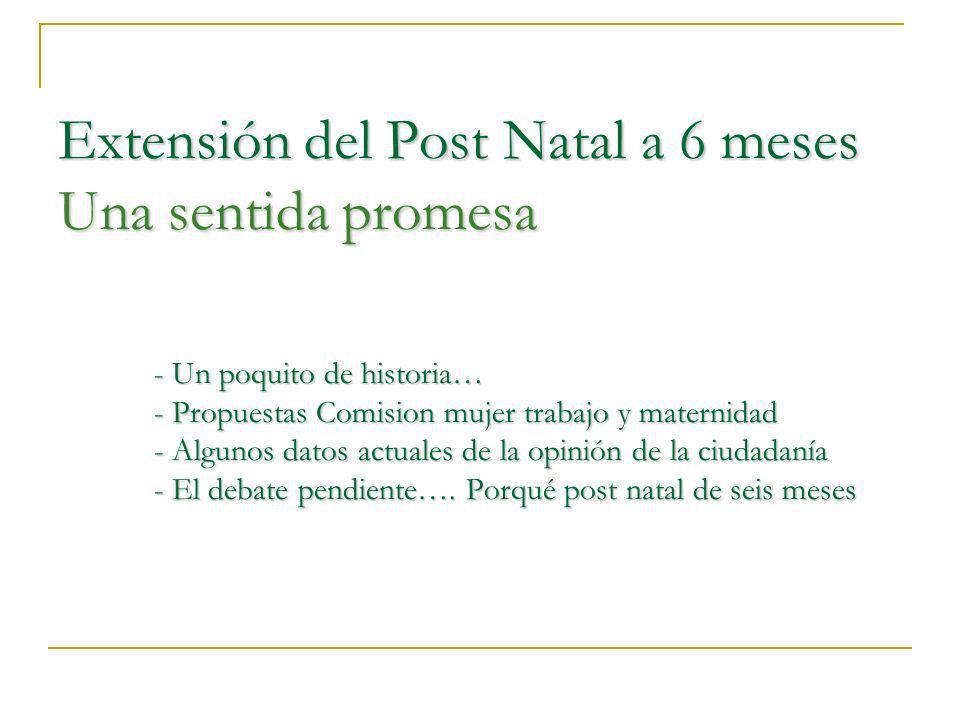 Extensión del Post Natal a 6 meses Una sentida promesa - Un poquito de historia… - Propuestas Comision mujer trabajo y maternidad - Algunos datos actuales de la opinión de la ciudadanía - El debate pendiente….
