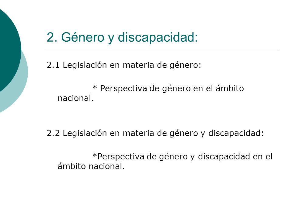 2. Género y discapacidad: 2.1 Legislación en materia de género: * Perspectiva de género en el ámbito nacional. 2.2 Legislación en materia de género y