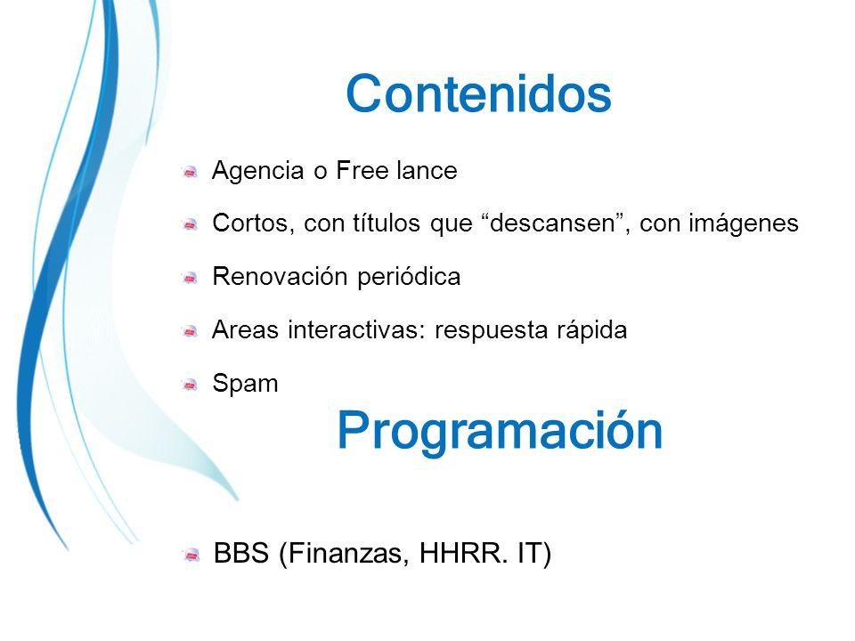 Agencia o Free lance Cortos, con títulos que descansen, con imágenes Renovación periódica Areas interactivas: respuesta rápida Spam Contenidos BBS (Finanzas, HHRR.