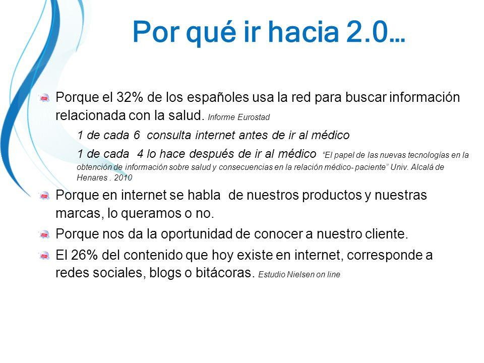 Por qué ir hacia 2.0… Porque el 32% de los españoles usa la red para buscar información relacionada con la salud.