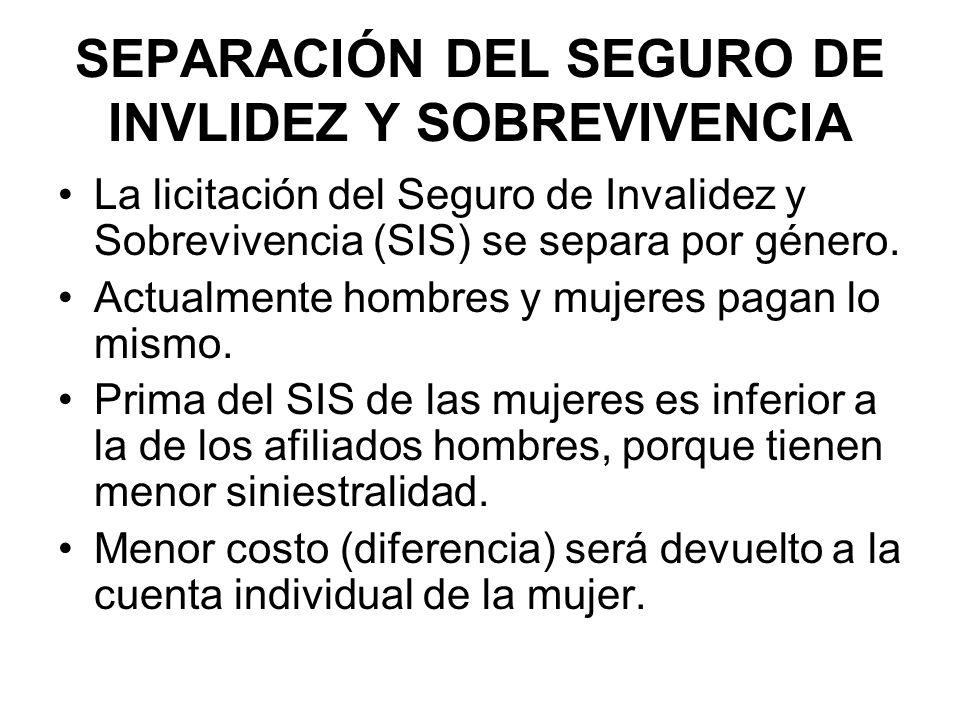 SEPARACIÓN DEL SEGURO DE INVLIDEZ Y SOBREVIVENCIA La licitación del Seguro de Invalidez y Sobrevivencia (SIS) se separa por género. Actualmente hombre