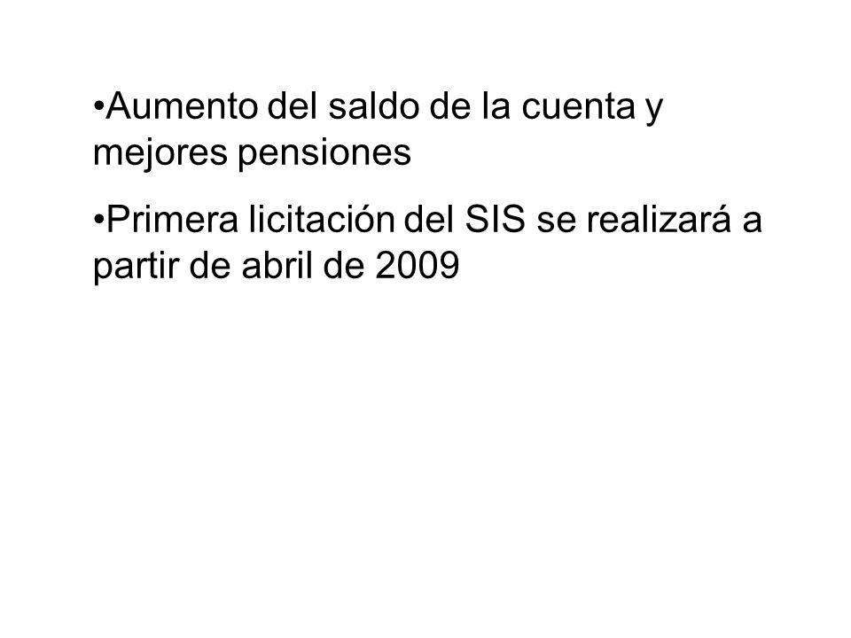 Aumento del saldo de la cuenta y mejores pensiones Primera licitación del SIS se realizará a partir de abril de 2009