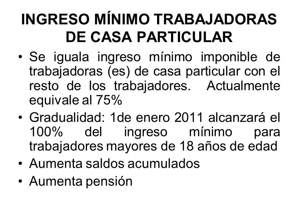 INGRESO MÍNIMO TRABAJADORAS DE CASA PARTICULAR Se iguala ingreso mínimo imponible de trabajadoras (es) de casa particular con el resto de los trabajad